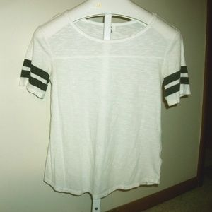Old Navy Top White with Black Strips on Sleeve